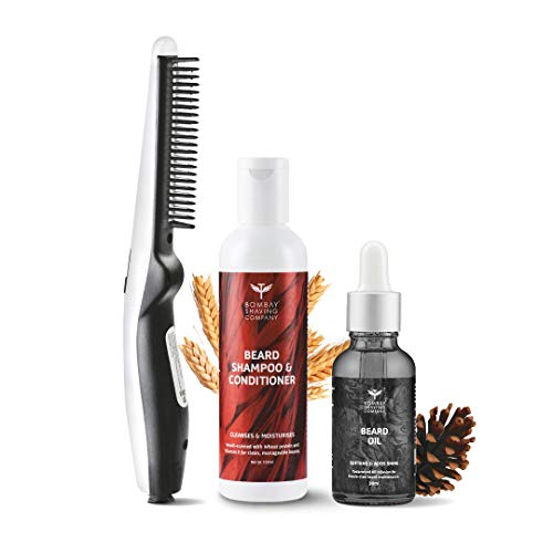 Bombay Shaving Company 3-in-1 Beard Straightener Kit With Cedarwood Beard Oil, Beard Shampoo & Conditioner & Anti-Burn Beard...