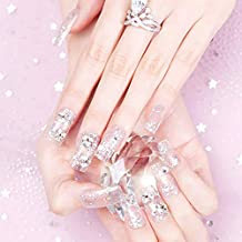 Drecode False Nails Bling Sequins Rhinestone Bead Full Cover Fake Nail Glitter Wedding Birthday Party Clip on Nails for Women and Girls(24Pcs)