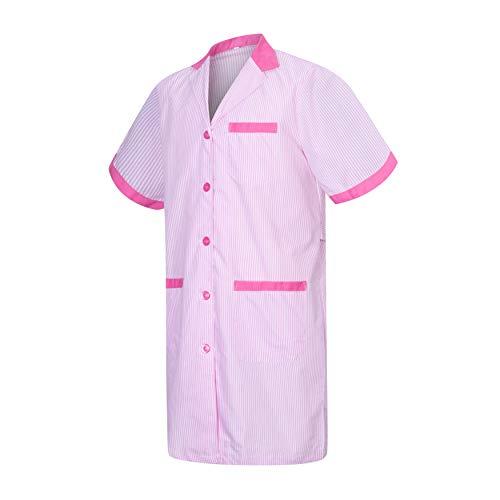MISEMIYA Batas Laboratorios Túnica de enfermería Uniformes Sanitarios, Rosa (Fucsia 9), ((Tamaño:S) para Mujer