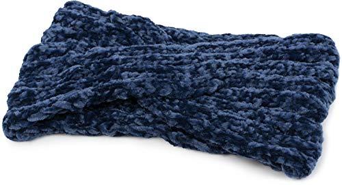 styleBREAKER Damen Chenille Strick Stirnband mit Knoten, warmes Winter Haarband, Headband 04026031, Farbe:Blau
