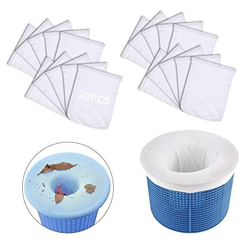 Esteopt Skimmer Korb Filter,20 Pack Pool Skimmer socken,Pool Skimmer Netz,Pool Skimmer Filter,Pool Filter Netz,Skimmer Korb Filter für Schwimmbad