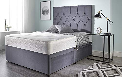 Bed Centre Ziggy Grey Plush Sprung Foam Divan Bed Set With Mattress, 2 Drawers (Bottom Base) And Headboard (Double (135cm X 190cm))