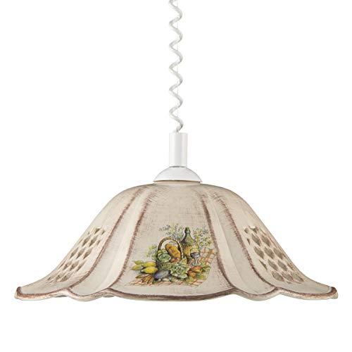 Helios Leuchten 207065 Küchenlampe Keramiklampe braun | Pendellampe Pendelleuchte aus Keramik | höhenverstellbare Keramikleuchte | Hängelampe 1 x E27