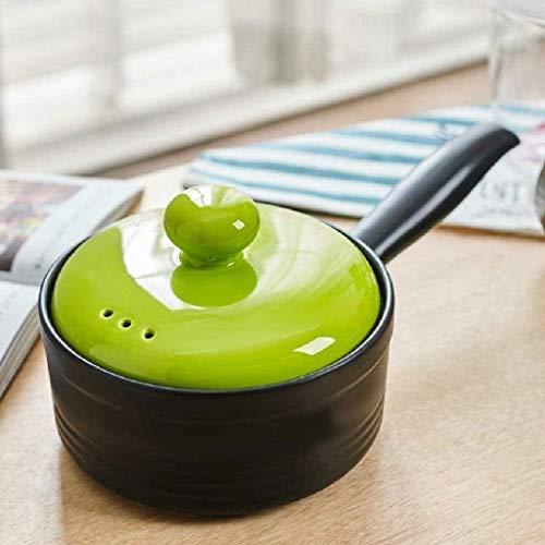 IUYJVR Cacerola Antiadherente con Tapa y Mango de cerámica, Olla pequeña Ollas de Cocina Sartenes Olla de Leche de cerámica Comida para bebés (Color: Verde)