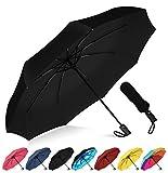 Rain-Mate Compact Travel Umbrella - Windproof, Reinforced Canopy, Ergonomic Handle, Auto Open/Close (Black)
