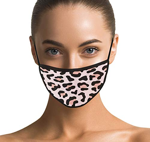 Dilara Stylische Maske aus 100% Baumwolle für Gesicht mit Leoparden Muster modisch und modern für Damen Stoffmaske Masken (Leoprint rosa)