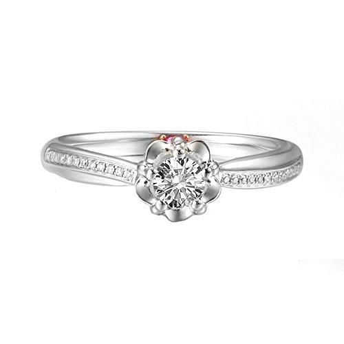 Bague 18K Or Rose(Au750),0.28Ct Rond Gem Bague Mariage Engagement Bague pour Femme Mariée Taille 57.5