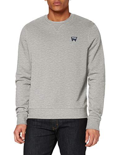 Wrangler Herren Sign Off Crew Sweatshirt, Grau (Mid Grey Mel A37), X-Large