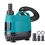 KEDSUM 1060GPH Submersible Water Pump(4000L/H, 80W), Ultra Quiet Submersible Pump with 11.5ft High Lift, Aquarium Pump with 5.9ft Power Cord, 3 Nozzles for Fountain, Pond, Fish Tank