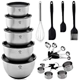 Queen Brands Mixing Bowls Set 5 Measuring Cups and Spoons Set Stainless Steel Nesting Non Slip Bottoms Airtight Lids Mixing Bowls Food Storage Prepping Mixing Baking Supplies Kitchen 19 Pieces