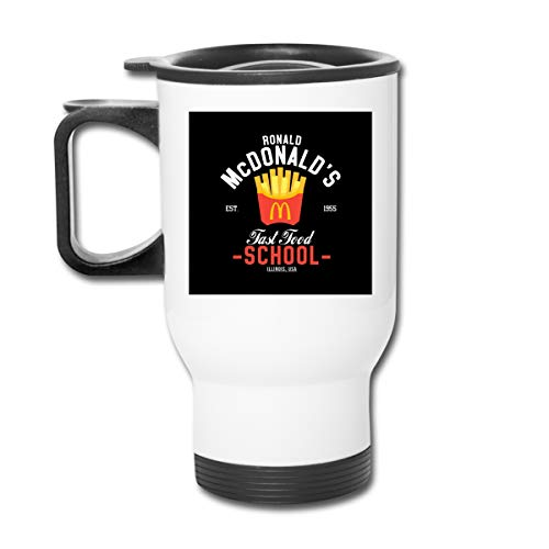 Ronald McDonalds Fast Food School Doppelwandiger Vakuum-Kaffeebecher mit spritzwasserfestem Deckel für heiße und kalte Getränke