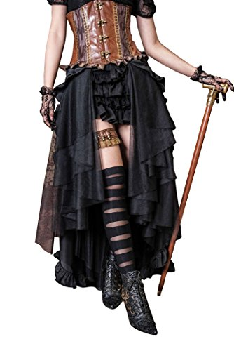 HaoLin Steampunk Retro Victorian Punk Cincher Lace up Long Ruffle Pencil Skirt Black