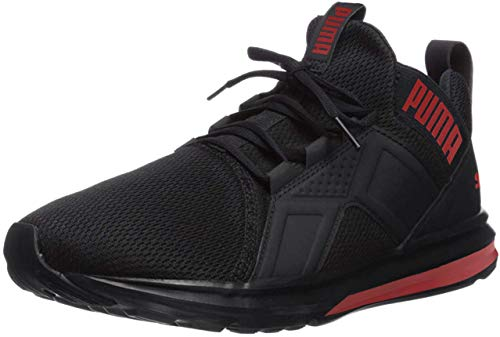 PUMA Men's Enzo Sneaker, Black-High Risk Red, 10.5 M US