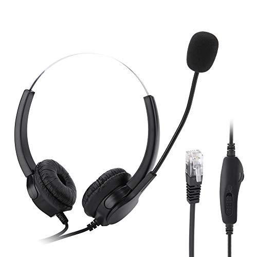 Cuffia per call center a mani libere, cuffia telefonica in cristallo RJ9 con eliminazione del rumore del microfono, cuffia leggera montata sulla testa Cuffie cablate aziendali per cabina telefonica