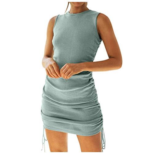 TOCCH Chaleco de algodón con cordón lateral plisado sexy en la cadera para mujer vestido casual color sólido cordón lateral sexy