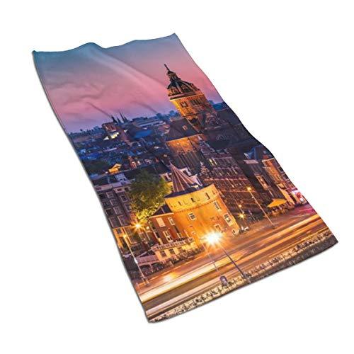 N/A Amsterdam Nederland Nederland Stad Zachte Douche Badhanddoeken Handdoek Zeer Absorberend voor Keuken,Hotel,Yoga,Gym,Spa (27 X 15 Inch)
