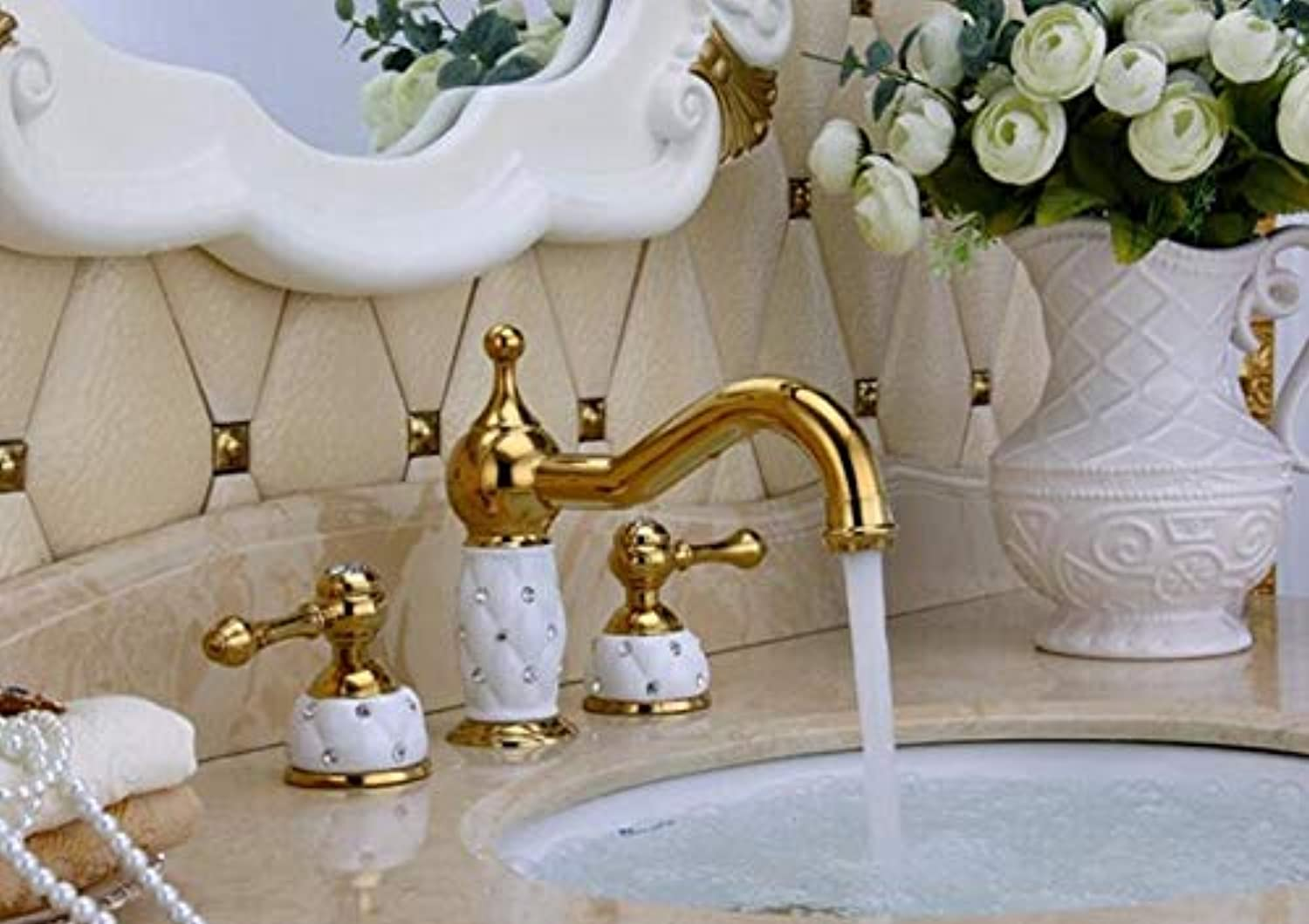 Mkkwp gold and White Finished Luxury Widespread Bathroom Sink Faucet Basin Faucet Tap Mixer Sink Faucet