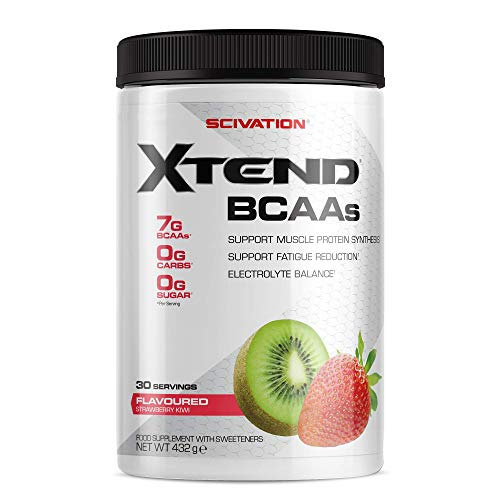Scivation Xtend Original BCAA Powder, 7g BCAAs, Branched Chain Amino Acids, Zero Sugar Electrolyte Drink + Hydration, Keto Friendly, Strawberry Kiwi, 30 Servings