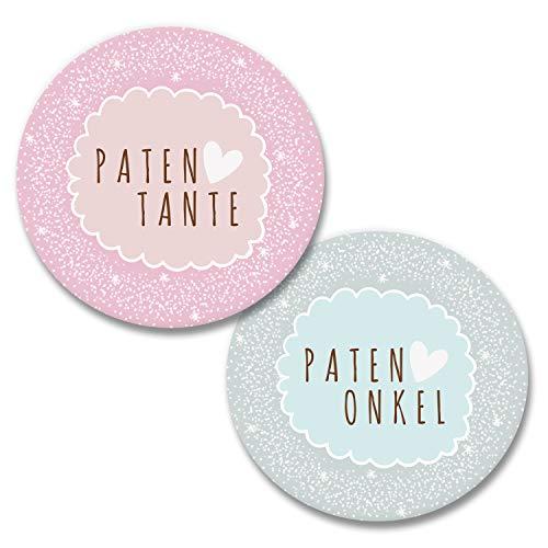 Polarkind grosses Button 2er Set Patentante Patenonkel Pin Anstecker (38mm) Handmade Geschenk zur Geburt Taufe Babyparty