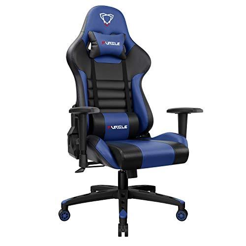 Sedia Gaming Gioco Sedie da Ufficio Girevole Ergonomica Poggiapiedi Retrattile Poltrona di PU Gaming con Poggiapiedi (Nero & Blu)