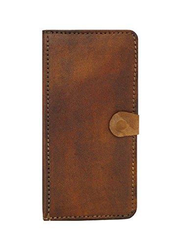 Een klein cadeau effen patroon handgemaakte vintage stijl lederen portemonnee kant Flip Hardcover hoesje met magneet slot voor iPhone 6 Plus - bruin