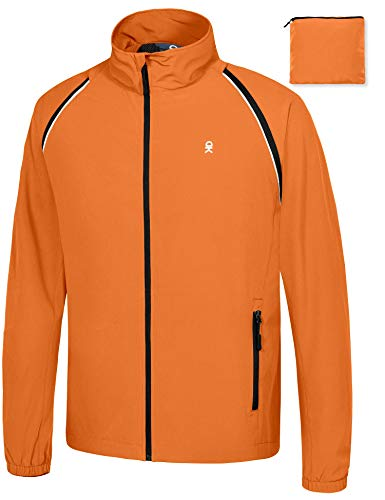 Little Donkey Andy Men's Quick-Dry Running Jacket, Convertible UPF 50+ Cycling Jacket Windbreaker with Removable Sleeves, Orange Size XXL