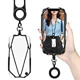 Universal Phone Lanyard Strap, takyu Cell Phone lanyards for around the neck, Silicone Necklace Holder Compatible with Smartphone Galaxy, iPhone (Black)