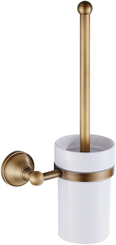 LUDSUY Bathroom Accessories Hardware Bathroom Pendant Retro White Ceramic Cup European Antique Brass Bathroom Toilet Shelf