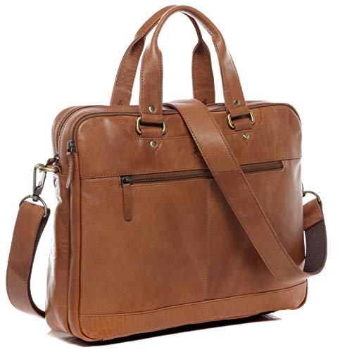 SID und VAIN Laptoptasche echt Leder Yann groß Businesstasche 15.6