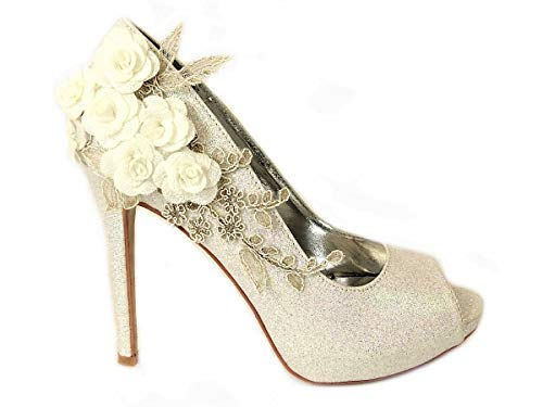 Zapatos de tacón alto para mujer con diseño de flores, con purpurina...