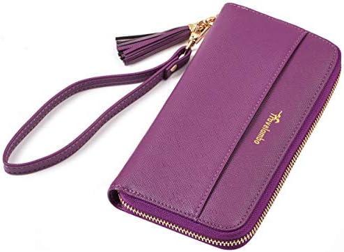 Travelambo Womens Wallet Tassel Bifold Ladies Cluth Wristlet Wrist strap Long Purse CH Deep product image