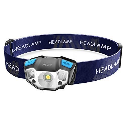 NPET LEDヘッドライト USB充電式 センサー機能付 120-320ルーメン IPX64防水 90度調整 軽量 コンパクト ネックライト ランキング 登山 夜釣り キャンプ