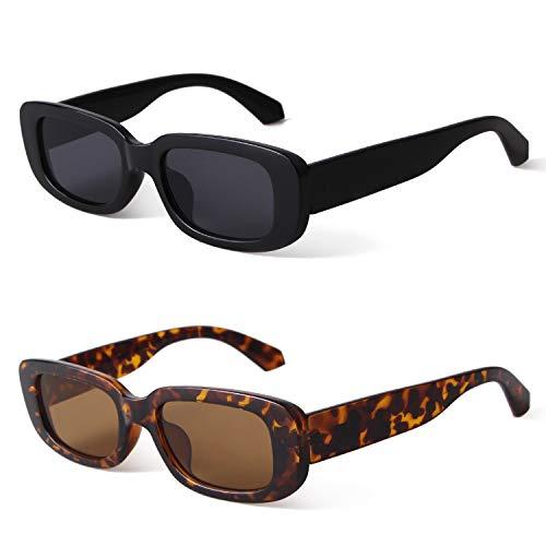 GIFIORE Rechteckige Sonnenbrille, Vintage Retro Sonnenbrille für Damen Herren UV400 Schutz (2 PACK ( Schwarz+Schildkröte))