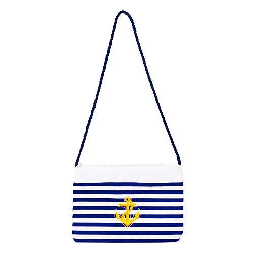 NET TOYS Bolsa de Marinera para Dama - Azul-Blanco - Chulo Accesorio de Disfraz para Dama Cartera con Ancla - Ideal para Festival y Fiestas en la Playa