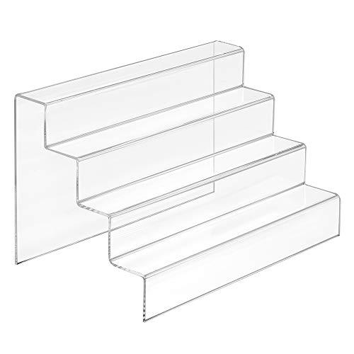Dekotreppe 4-Stufig (200x125x125mm) aus glasklarem Acrylglas - Zeigis® / Stufendisplay/Präsentationstreppe/Treppenständer/Treppendisplay/Präsentations-Treppe/Warenträger/Acryl/Transparent