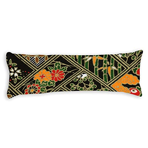 Promini Funda de almohada para el cuerpo, diseño de kimono japonés, vintage, con cierre de cremallera oculta, para sofá, banco, cama, decoración del hogar, 50,8 x 137,2 cm
