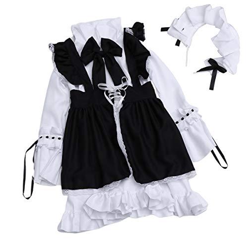 BESTOYARD Conjunto de 4 peças de roupas de trabalho para restaurante e cafeteria, roupas de cosplay de anime japonês, roupa de empregada, tamanho P, para festa de dia das bruxas