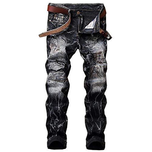 N\P Vintage Camuflaje Algodón Denim Jeans Hombres Hip Hop Arrancó Agujeros Negro Pantalones Streetwear Slim Parches Pantalones Amarillo Pantalones