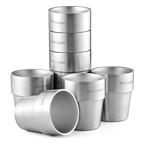 Hivexagon Vasos de Cerveza de Acero Juego de 8 Tazas de Doble Pared de Acero Inoxidable de 300 ml - Perfecto para Bebidas Frías - Apto para Lavavajillas HG298