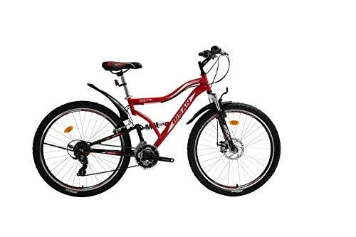 T 26 Zoll Kinder Jugend Jungen Herren Mädchen Fahrrad Kinderfahrrad MTB Mountainbike Jugendfahrrad Rad Bike 21 Gang Shimano Fully VOLLFEDERUNG Disk Scheibenbremse 4400 Schwarz Rot
