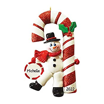 Personalized Candy Cane Snowman Christmas Tree Ornament 2021 - Happy Playful Figure Dancing Ball Peppermint Berry Glitter Holiday Baby Tradition Grand-Kid Daughter Love Gift - Free Customization