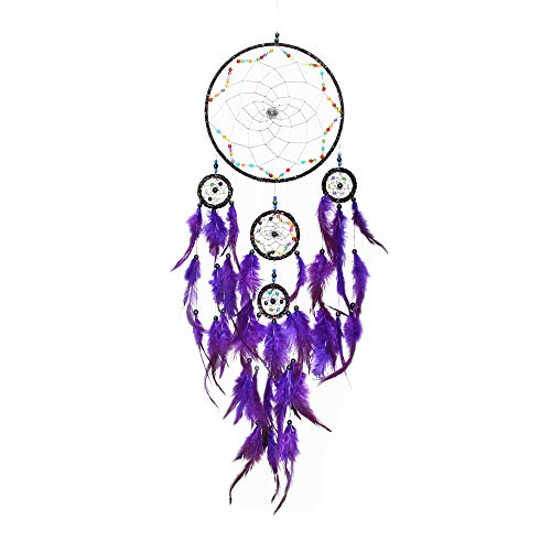 DrCor Large Blue Dream Catchers for Kids Room Teepee Bedroom Handmade Teal Dream Catcher Wall Hanging,8x30 Inch
