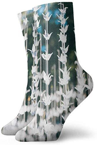 Love girl Blanco Grulla colgante Origami Patrón Moda Unisex Clásicos Calcetines de tobillo Medias atléticas Calcetines de 30 cm