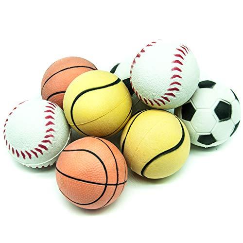 8 x 6 cm große Hundebälle aus Gummi mit Schwamm, hohe Sprungkraft, schwimmendes Hundespielzeug für Langeweile Sport, Tennis, Basketball, Baseball, Fußball, Rollbälle für Hunde (weich, hell, 8 Bälle)