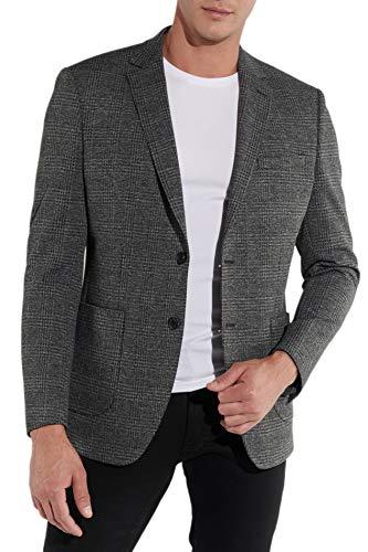 Steffen Klein Herren Sakko Jacket Jersey Elastisch Karo Grau Kariert