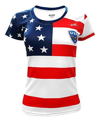 Women Fan USA Jersey Short Sleeve Athletic Fit (Small) White