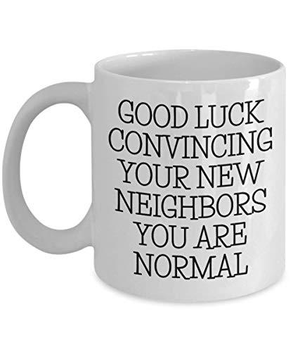 Neue Hausbesitzergeschenke, Einweihungsgeschenke, lustige Hauserwärmung, Kaffeetassen, Teetassen, viel Glück überzeugende Nachbarn, Weihnachtsgeschenk
