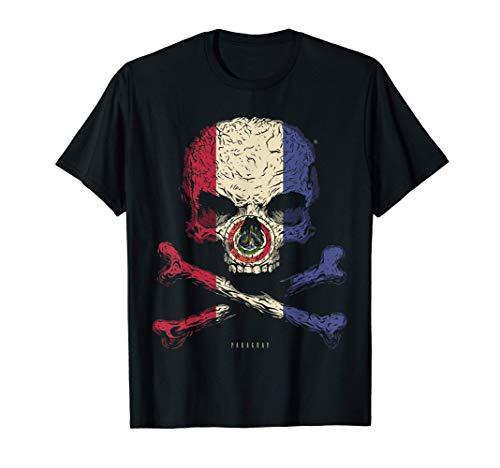 Calavera con Bandera de Paraguay Cráneo Crossbones Camiseta