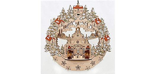 Weihnachtsdeko LED Fensterbild Frauenkirche Dresden mit 2 Kurrende Figuren Doppel-Lichterkette Holzkunst aus dem Erzgebirge beleuchtete Weihnachtsdekoration Fensterdeko für die Weihnachtszeit