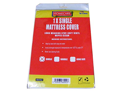 2 X Single Vinyl Plastic Fitted Mattress Bed Cover Sheet Protector